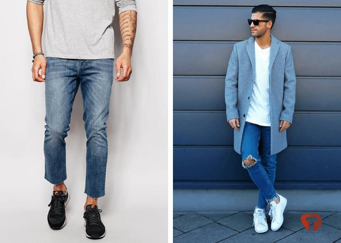Мужчины в джинсах с необработанными краями 2018/2019