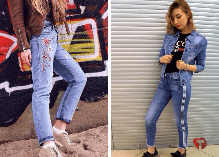 джинсы с декором 2018/2019