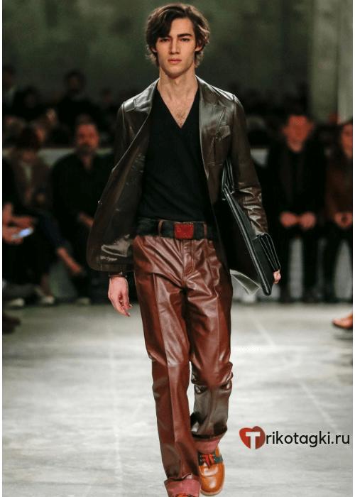 Мужские коричневые кожаные штаны