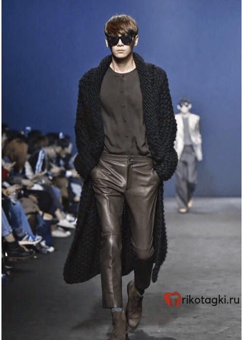 Мужские черные кожаные штаны
