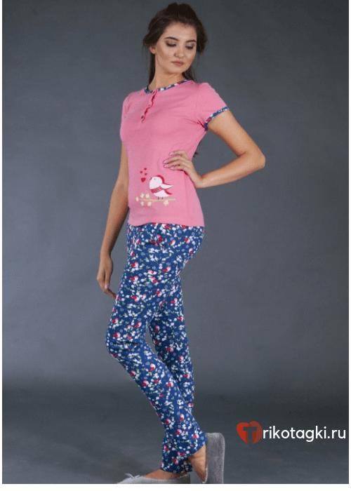 Комплект домашний женский синий низ, розовый верх