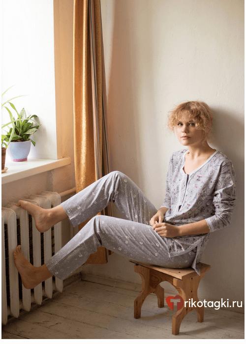 Женская пижама серая с рисунком