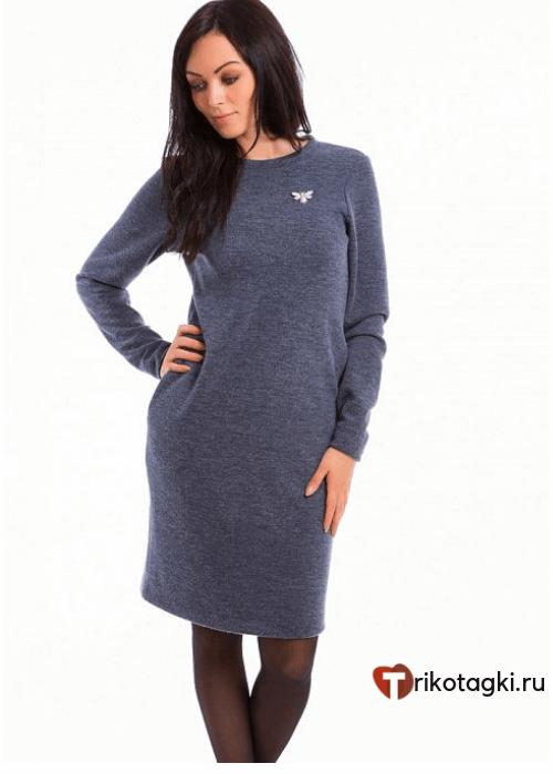 Платье женское сине - серое