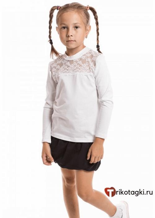 Джемпер школьный с кружевом и длинным рукавом