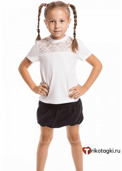 Джемпер школьный с кружевом и коротким рукавом