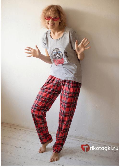 Комплект женский домашний со штанами в клетку