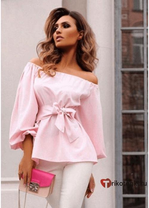 Туника женская офисная розовая