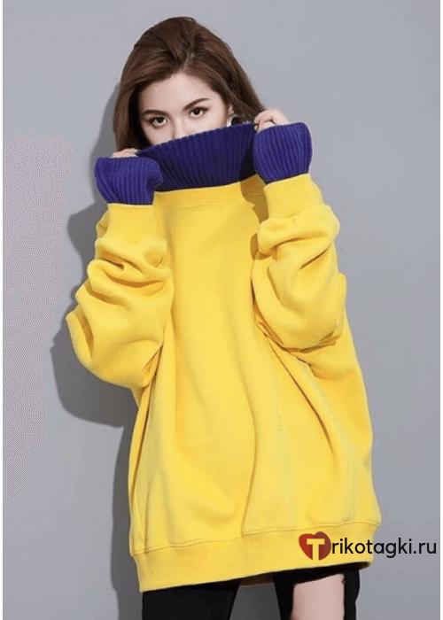 Туника - свитер женская желтая