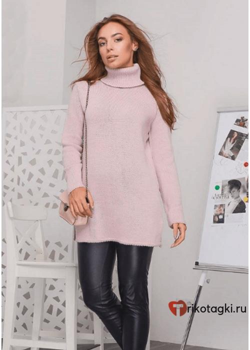 Туника женская свитер розовый