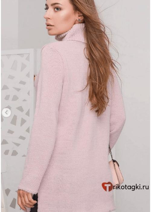 Туника - свитер женская розовая