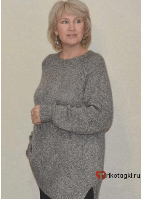Туника женская вязанная серая
