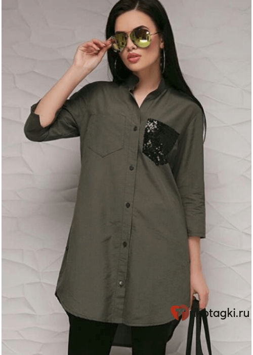 Туника - рубашка женская с карманом