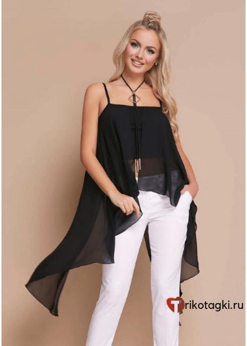 Туника женская черная со шлейфом