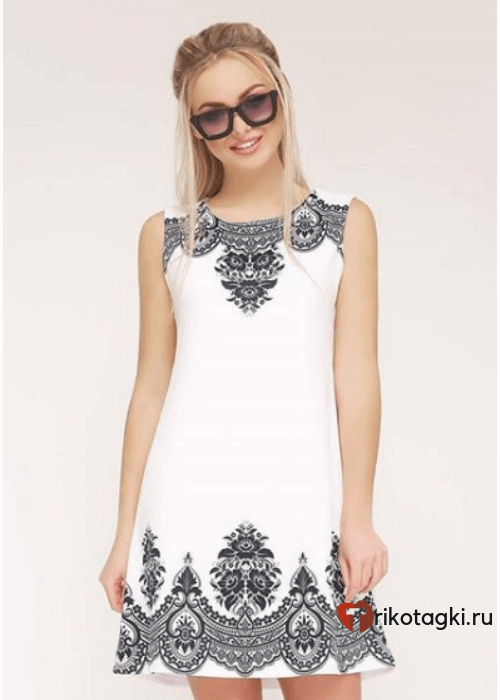 Туника женская белая с вышивкой