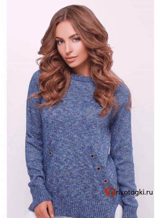 Туника женская синяя теплая