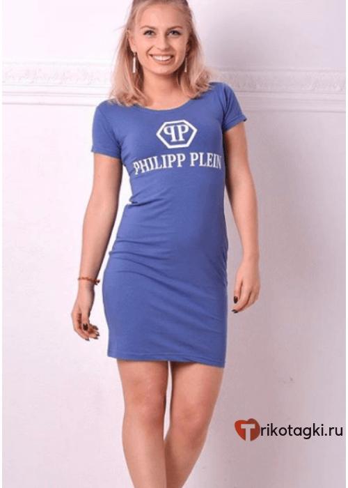 Туника женская спортивная голубая