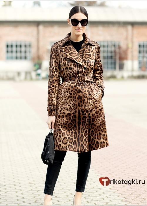 Женский тренч с леопардовым принтом