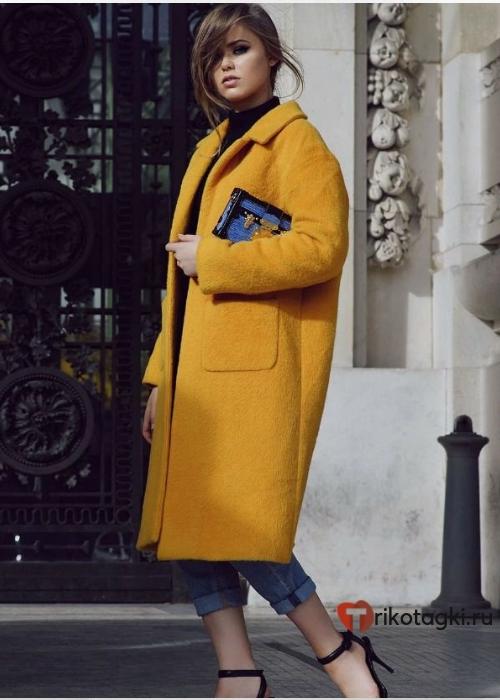 Женское пальто оверсайз горчичный