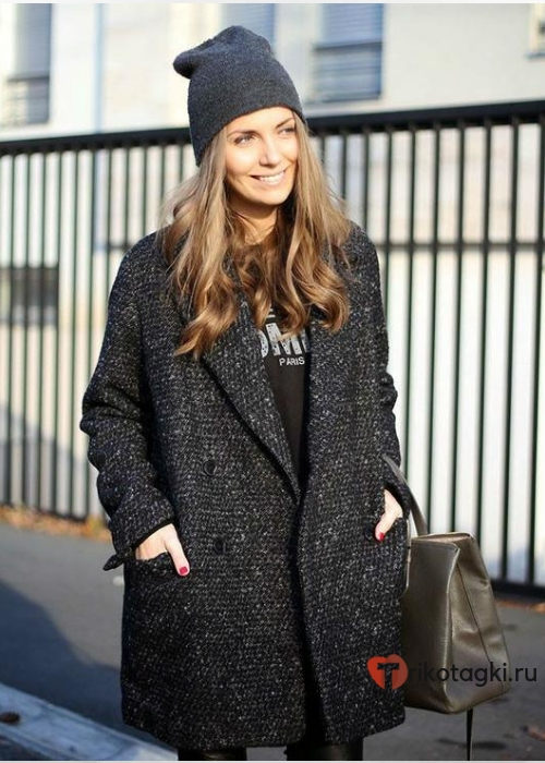 Женское пальто оверсайз темно серый