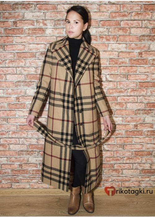 Женское пальто в английском стиле клетка