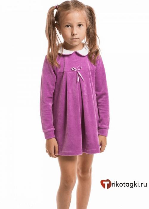 Велюровое платье для девочки малиновое