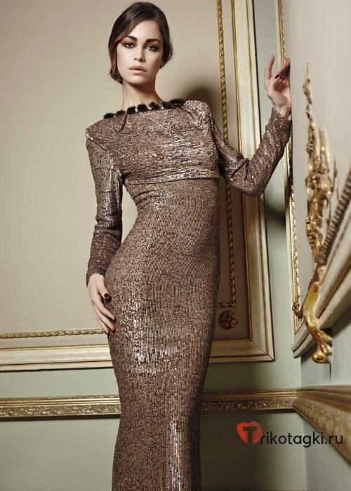 Коричневое платье на новый год