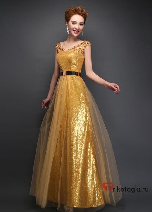 Золотое платье на новый год с шифоном