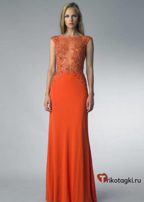 Оранжевое платье с прозрачным верхом