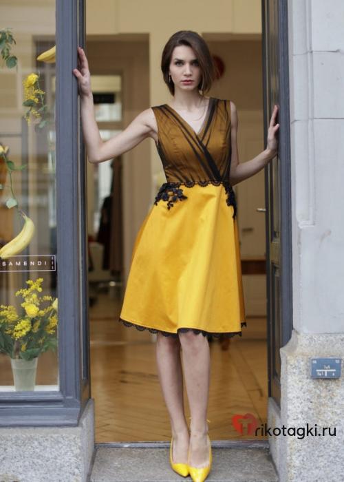 Желтое платье женское на новый год