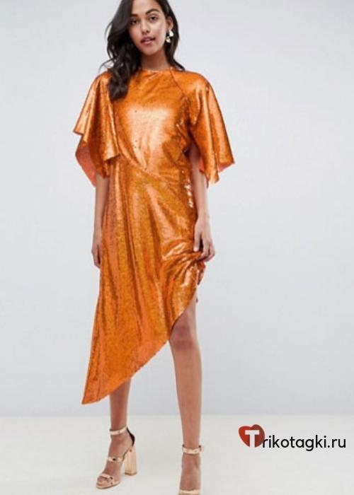Оранжевое платье нарядное
