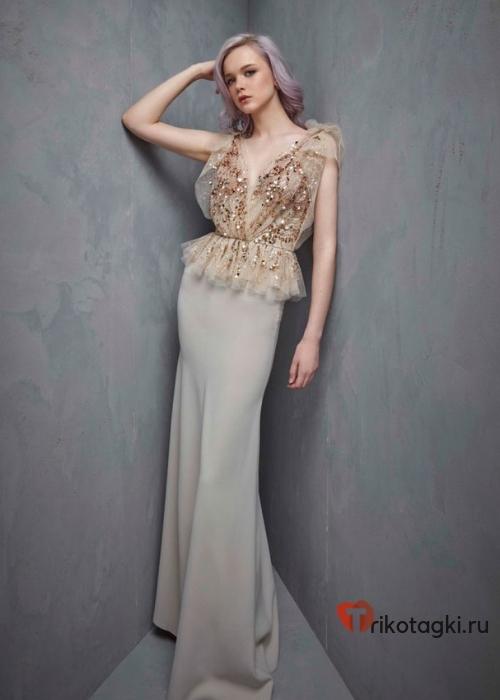 Серебренное платье длинное