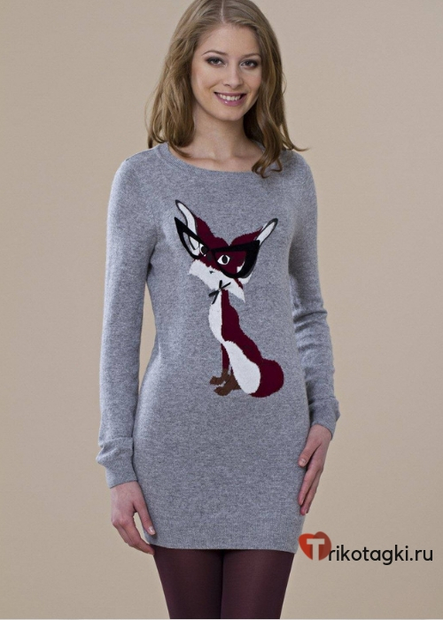 Платье туника с принтом лисы