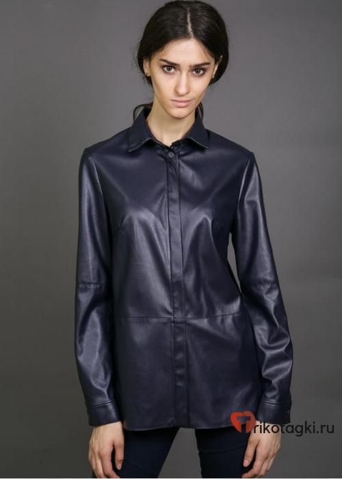 Кожаная черная блузка