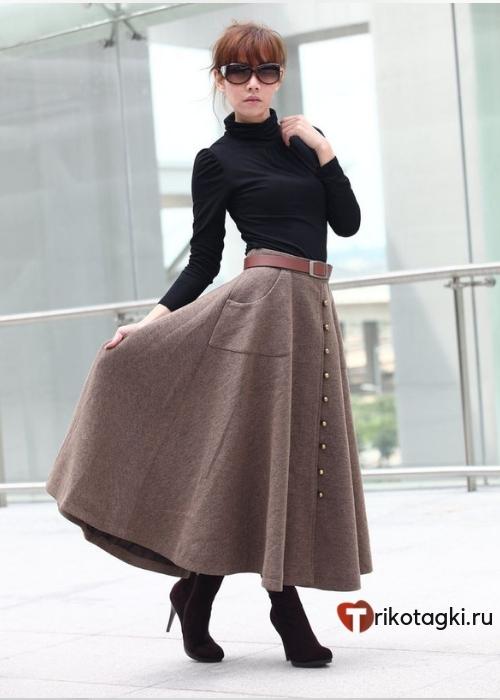 Шерстяная карамельная юбка
