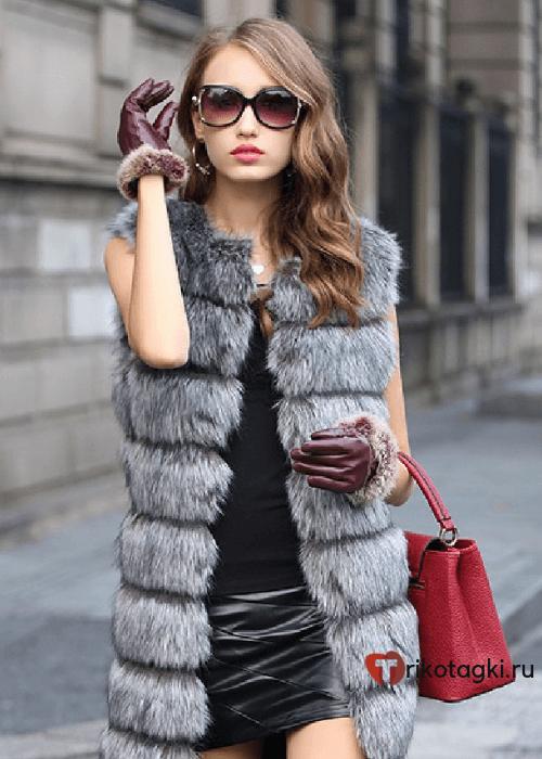 Модное пальто из искусственного меха без рукавов