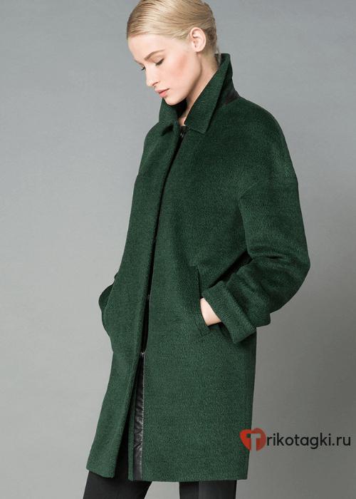 Модное пальто из кашемира зеленого цвета