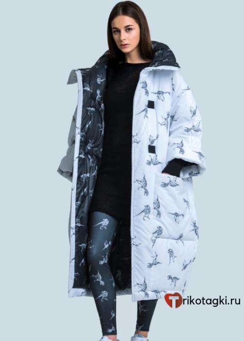 Модное стеганое пальто оверсайз белое