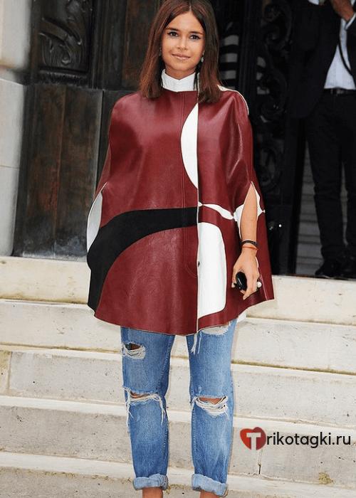 Модное пальто кейп красное