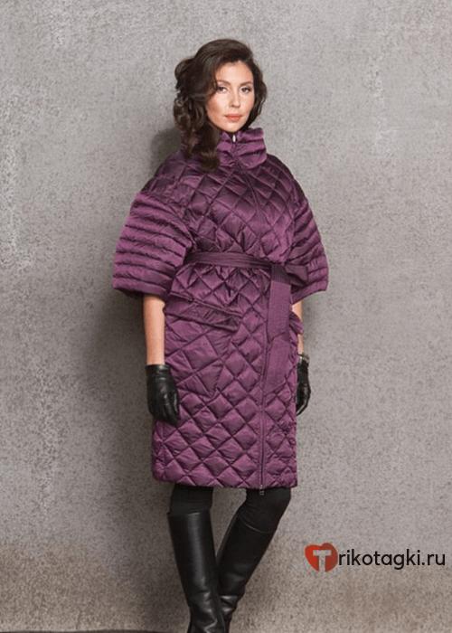 Модное стеганое пальто с короткими рукавами