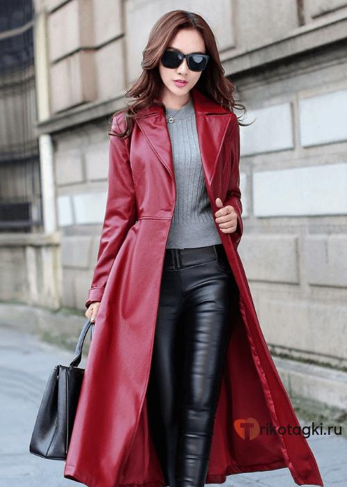 Длинное кожаное пальто красное