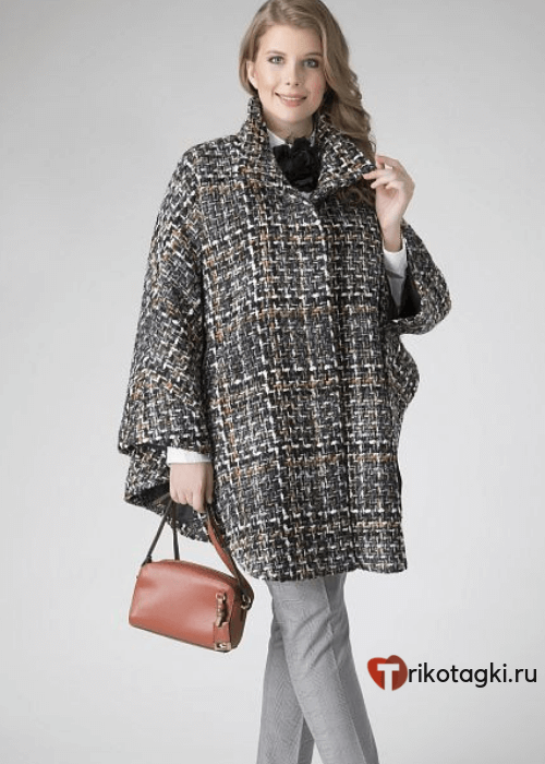 модное пальто из твида пончо