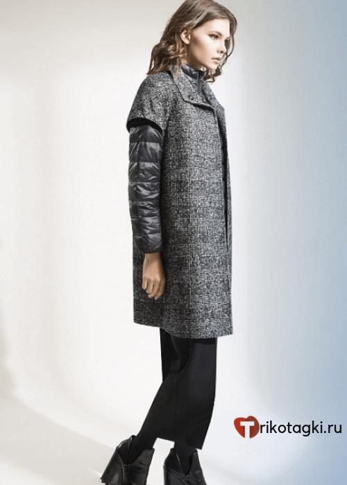 Модное пальто из твида с укороченными рукавами