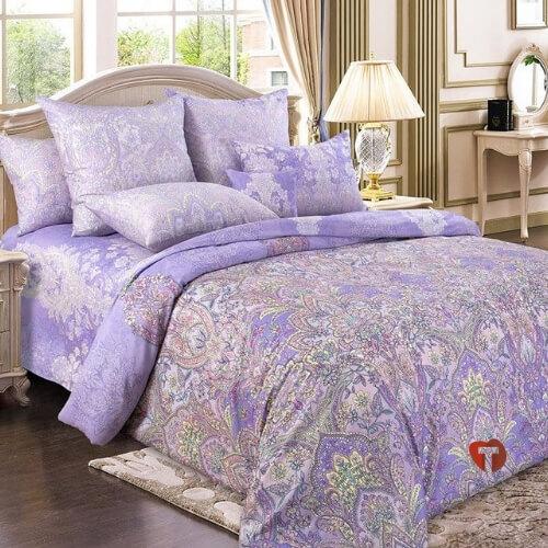 Комплект сатин фиолетовые цветы