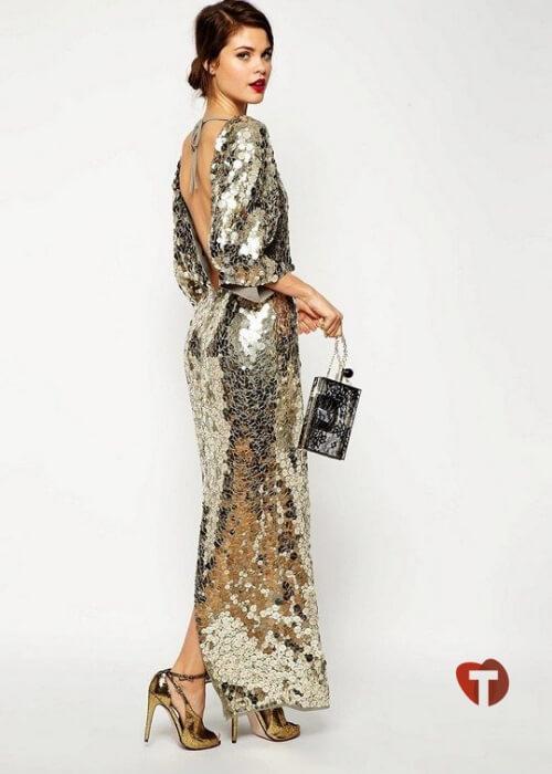 Золотое платье блестящее