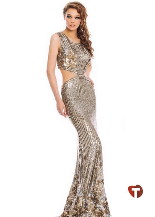 Бежевое платье с люрексом
