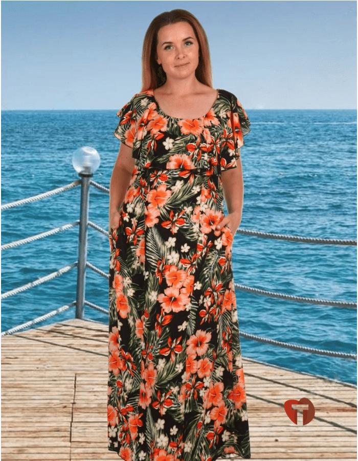Платье длинное цветастое