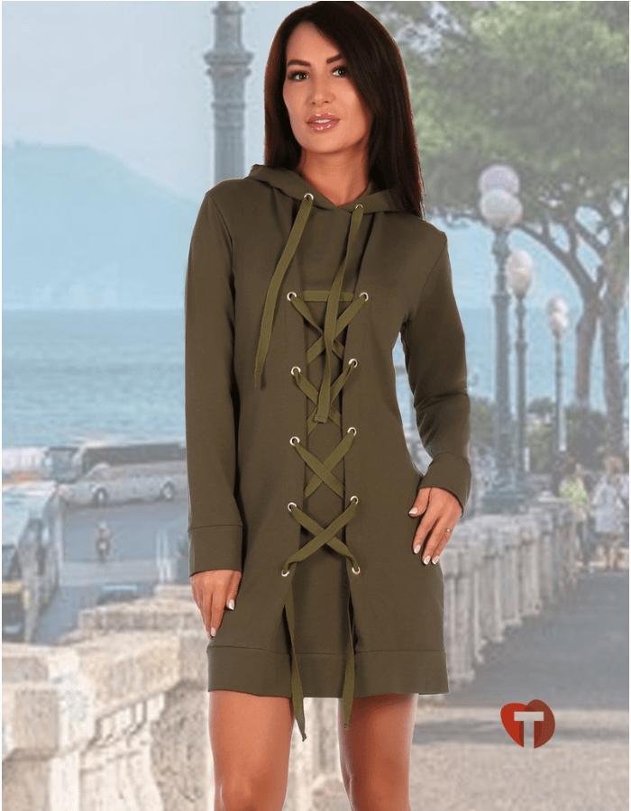 Платье хаки со шнуровкой