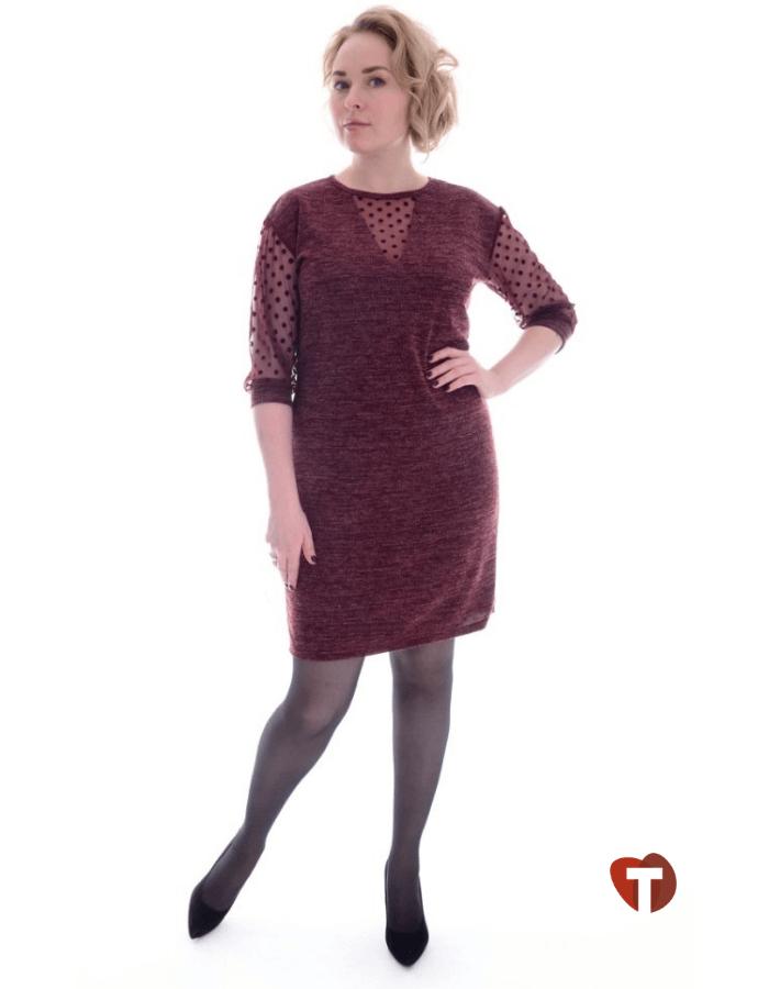 Платье женское бордовое