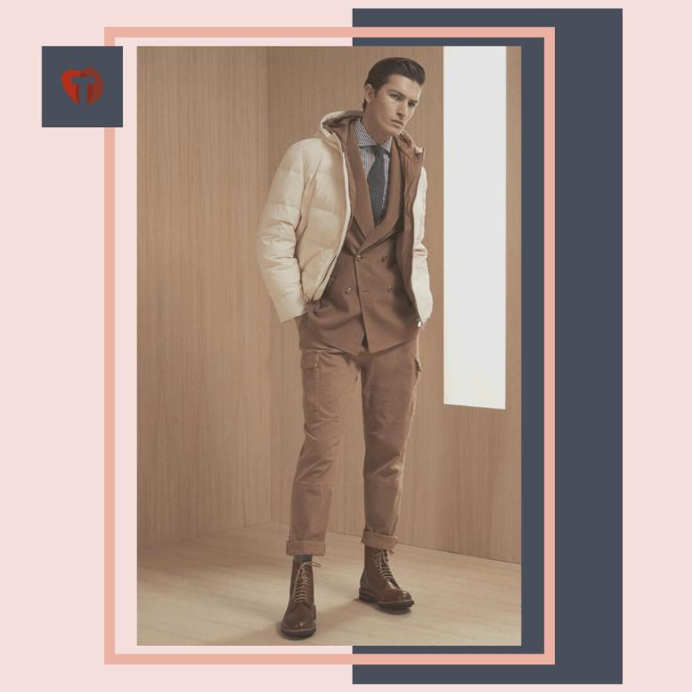 Коричневый костюм для офиса с курткой мужской